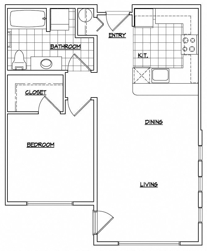 1 Bedroom with Large Kitchen
