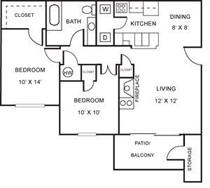 Two Bedroom, One Bath Apartment