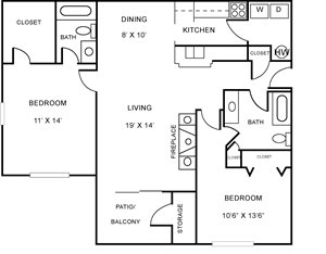 Two Bedroom, Two Bath Apartment