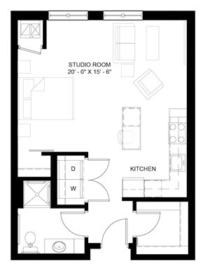 The Whitney A studio floor plan dimensions and layout