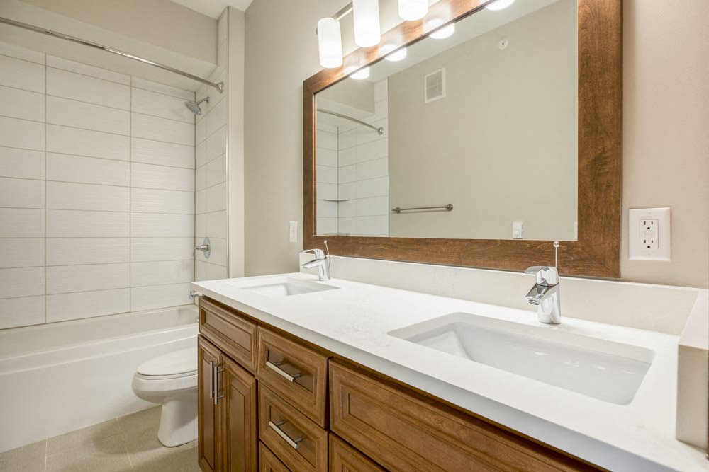 Dual sinks in bathroom with tiled tub in premium unit at Ascend at Woodbury new luxury apartments in Woodbury MN 55129