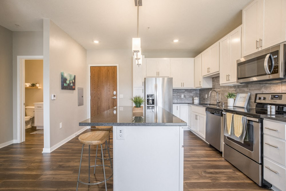 Alpine design scheme kitchen with white cabinets at Ascend at Woodbury new luxury apartments in Woodbury MN 55129