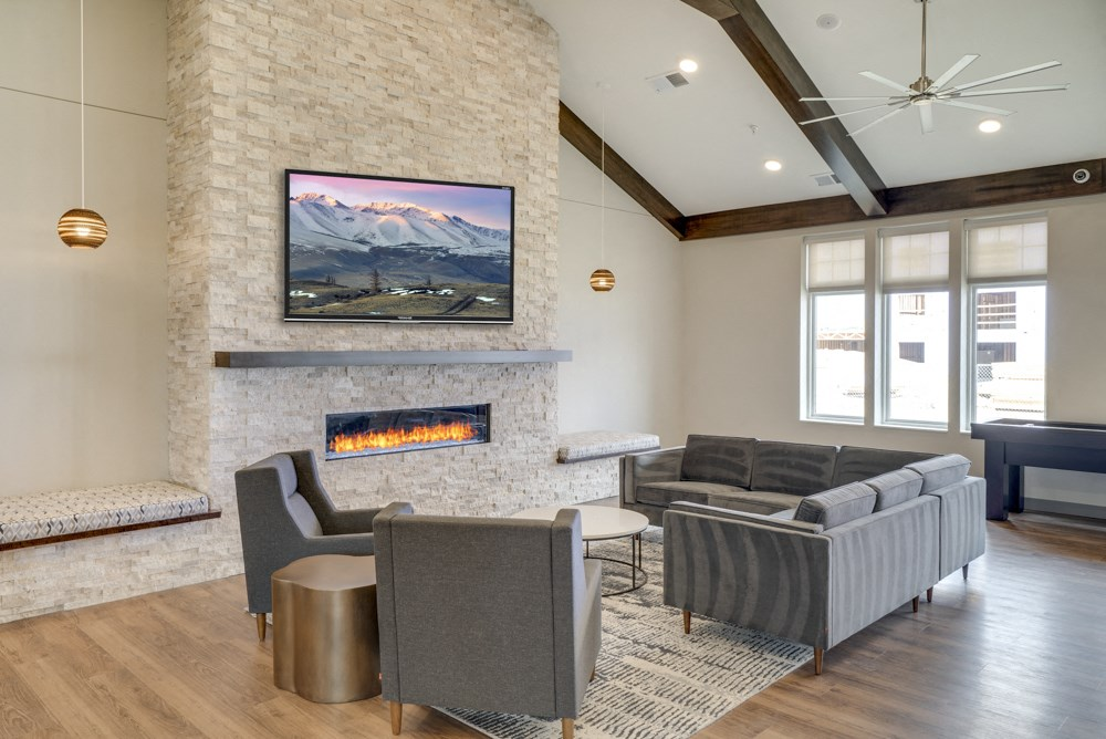TV lounge in clubhouse at Ascend at Woodbury new luxury apartments in Woodbury MN 55129