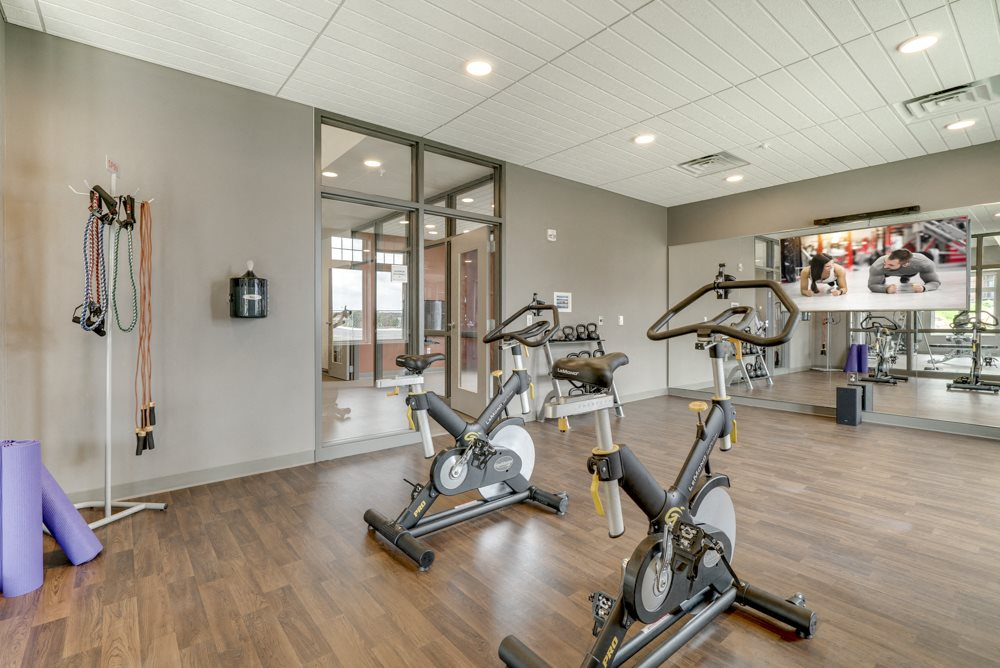 Yoga and spin studio at Ascend at Woodbury luxury apartment community in MN