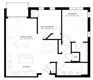 The Cascade with Den 1-bedroom layout