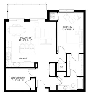 The Pike with Den 1-bedroom layout