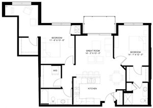 The Lincoln L floor plan with two bedrooms and two bathrooms on each side of the living room