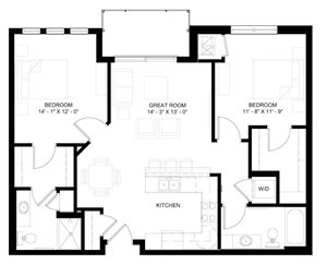 The Lincoln 2-bedroom floor plan layout
