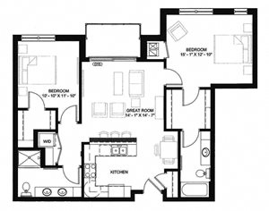 The Palisade two-bedroom floor plan at Ascend at Woodbury