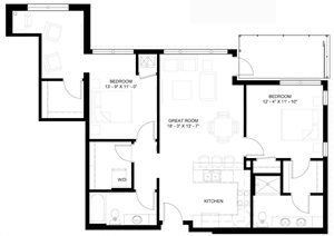 The Denali L floor plan with two bedrooms and two baths on each side of the living room