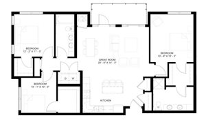 The Vermilion A 3-bedroom floor plan layout