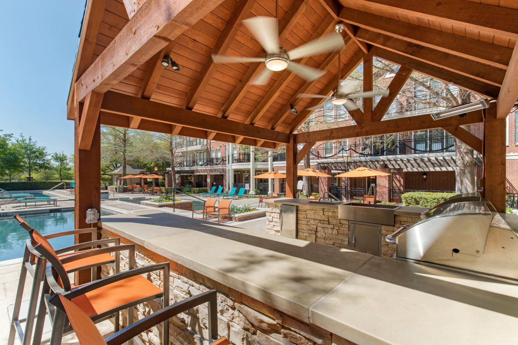 The Lincoln at Towne Square  Covered Outdoor Kitchen with Gas Grills