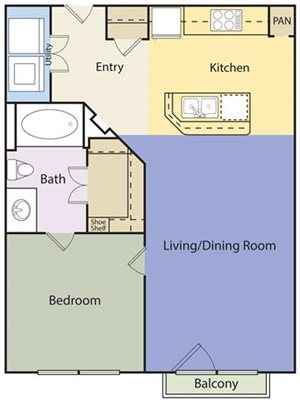 The Lincoln at Towne Square Apartments  Cottage Hill Floor Plan