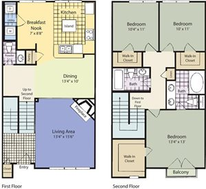 The Lincoln at Towne Square Apartments Denison-Townhome Floor Plan
