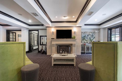 The Lincoln at Towne Square Apartments in Plano, TX Resident Clubhouse with Fireplace