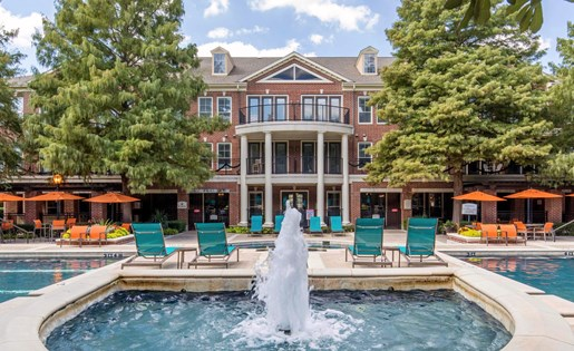 The Lincoln at Towne Square Apartments in Plano, TX Swimming Pool with Waterfall Feature