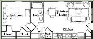 One Bedroom/One Bath Lux