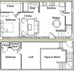 Two Bedroom/One Bath Loft