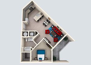 1 Bedroom/ 1 Bath C
