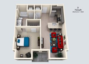 1 Bedroom/ 1 Bath D