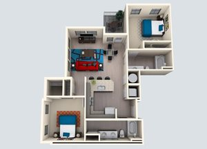2 Bedroom/ 2 Bath M