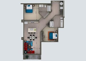 2 Bedroom/ 2 Bath K