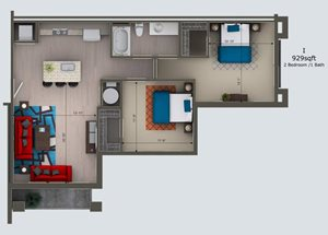 2 Bedroom /1 Bath I