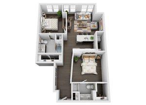 2 Bedroom/2 Bath w/Barn Door