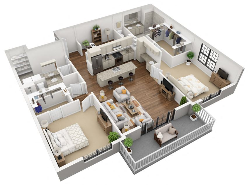 2 Bedroom 2 Bath with Office