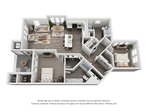 2 Bedroom Apartment Floorplan in Meridian Idaho