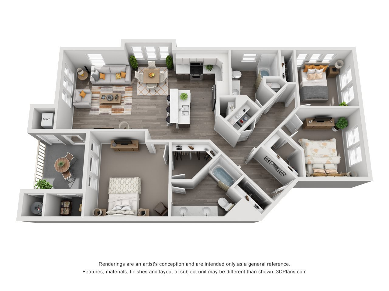 3 Bedroom Apartment Floorplan in Meridian Idaho
