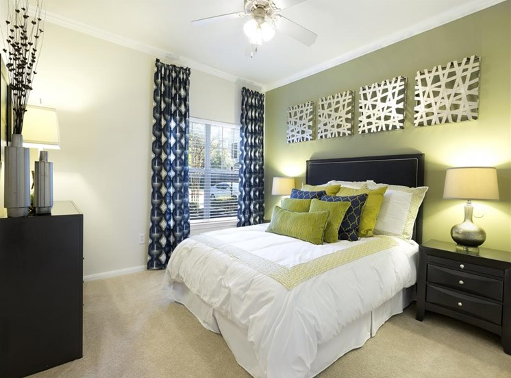 Bedrooms with ceiling fans at Indigo Pointe, 3030 Bardin Road, TX 75052