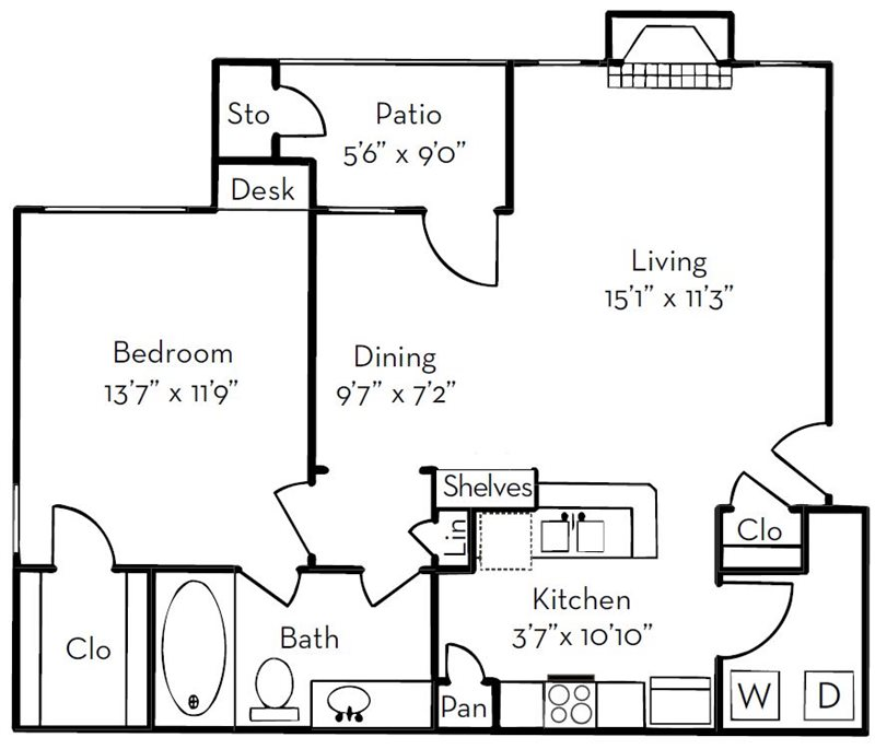 The Legend at Park Ten Apartments | 781 sqft floorplan