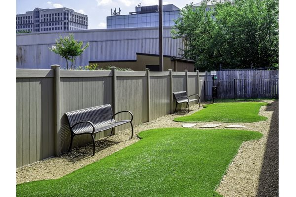 Fenced in dog park at Neo Midtown, 14151 Noel Rd, Dallas