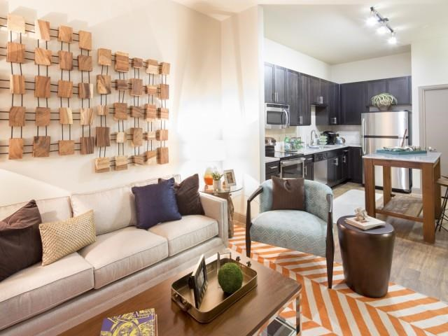 Living Room at Neo Midtown Apartments in Dallas, TX