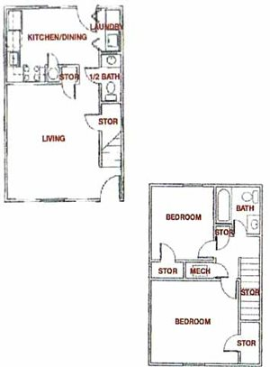 PLAN A - 2 Bedroom / 1 1/2 Bath (Townhouse)