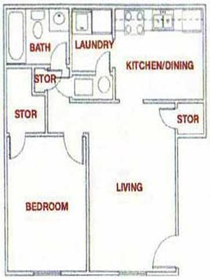 PLAN LA - 1 Bedroom / 1 Bath (Large)