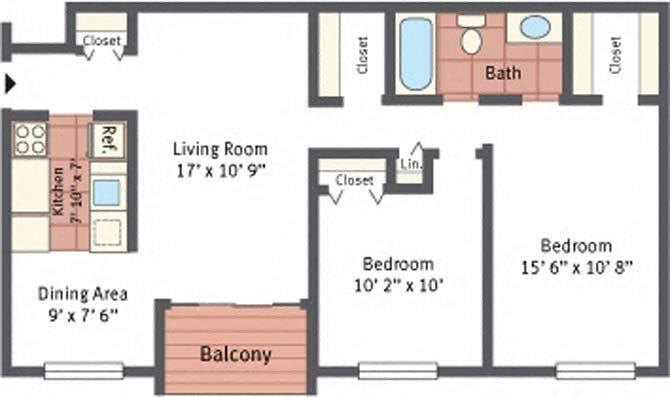 2 Bedroom 1 Bath  Model  Floor Plan 3. Floor Plans of Autumn Ridge Apartments in Blackwood  NJ