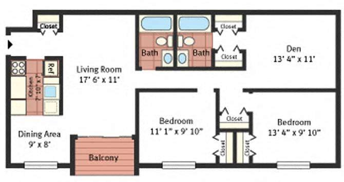 2 Bedroom Den Bath Floor Plan 4