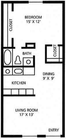 1 bed/1 bath  Cedar