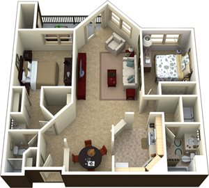 (2D) 2 bedrooms 2 baths