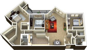 (3A) 3 bedrooms 2 baths