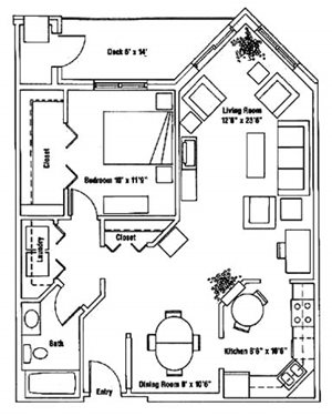 (1A)  1 bedroom 1 bath