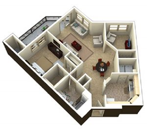 (1B)  1 bedroom 1 bath