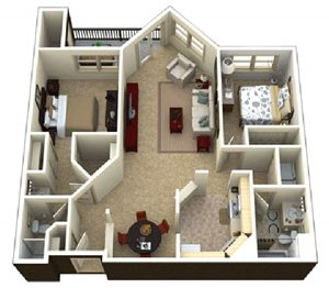 (2A) 2 bedrooms 2 baths