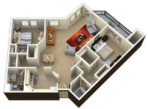 (2C) 2 bedrooms 2 baths