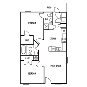 Two Bedroom Floor Plan at Parkway Crossing Apartment Homes in Concord, North Carolina, NC