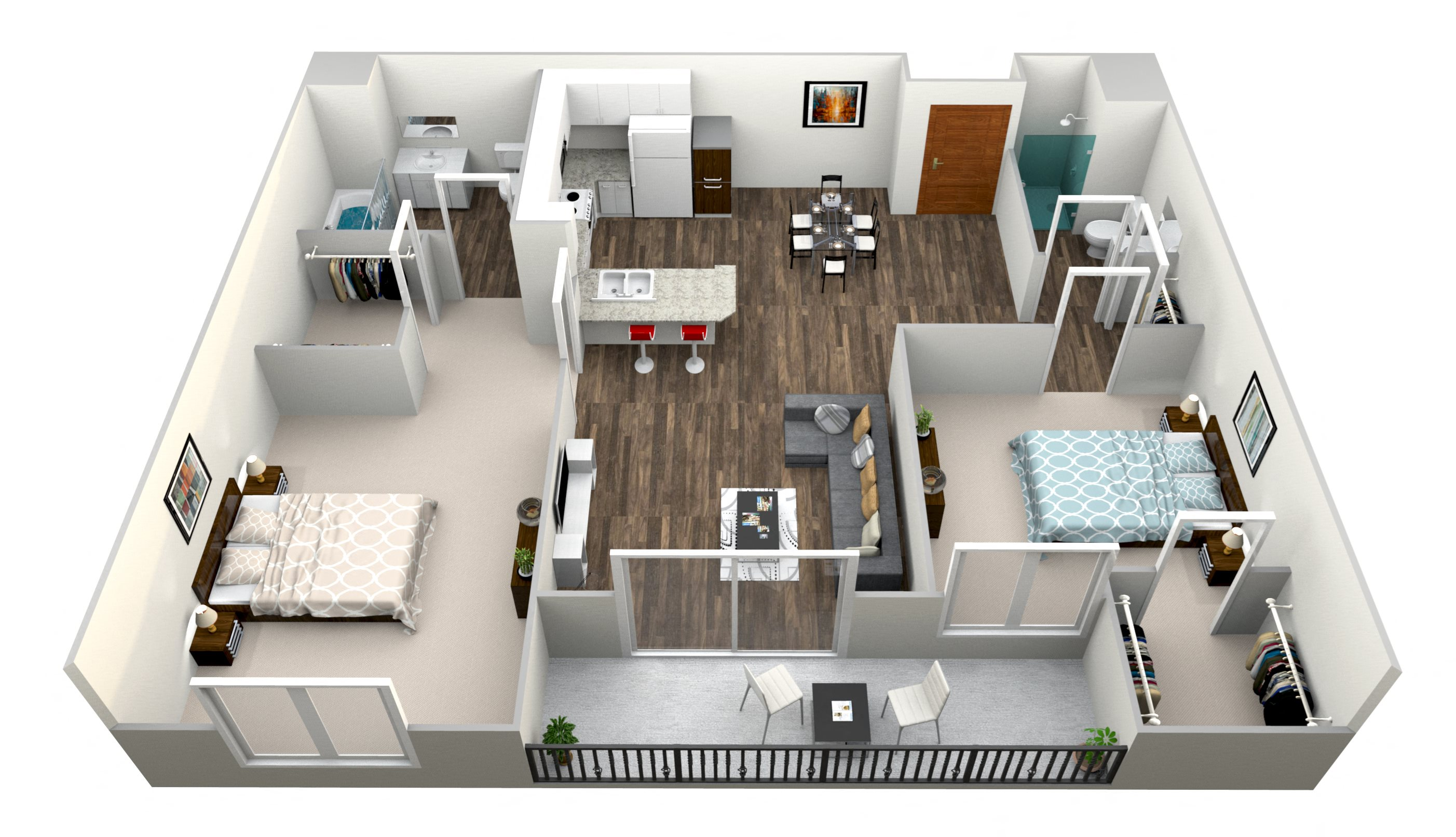 2 Bed 2 Bath B Floor Plan 2