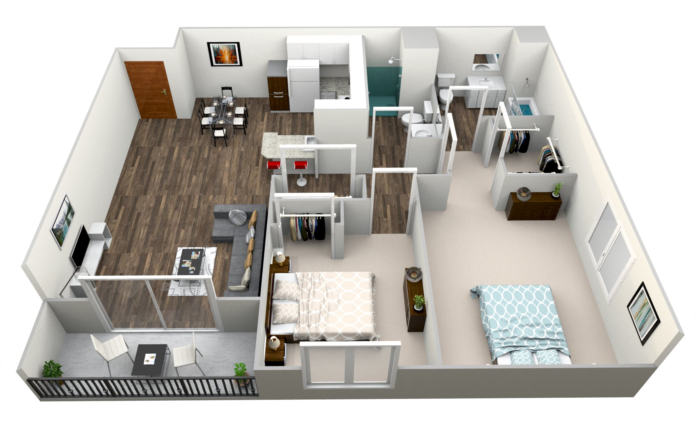 2 Bed 2 Bath C Floor Plan 3