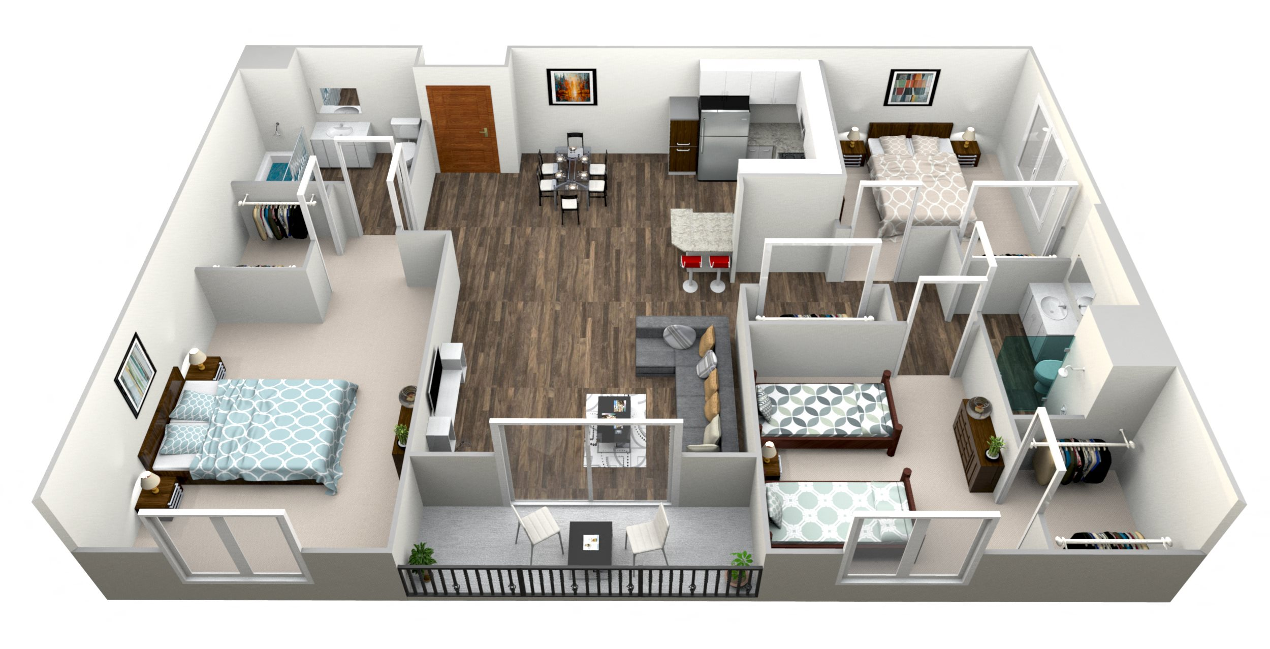3 Bed 2 Bath D Floor Plan 4